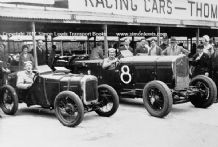 AUSTIN 7 & Talbot ,A B Gilbert, V Balls, Brooklands circa 1931. Photo